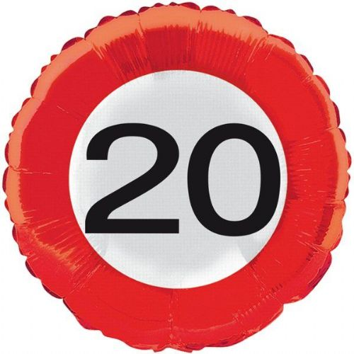 Traffic Sign 20th Party Foil Balloon Packet Birthday Helium Decoration